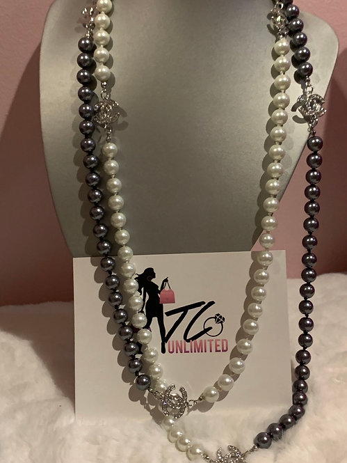 Grey and White Pearl CC necklace