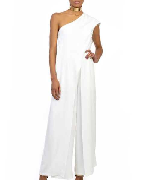 White Elegant Solo Shoulder Pant Suit