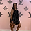 Thumbnail: Tempo Black /grey cow Neck Linen Dress 4347A