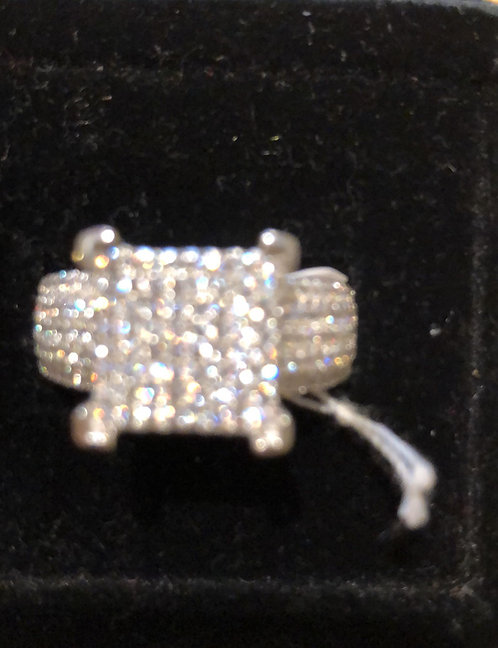 Sterling silver large CZ ring