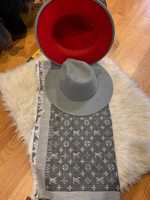Grey red bottom  Fedora  hat