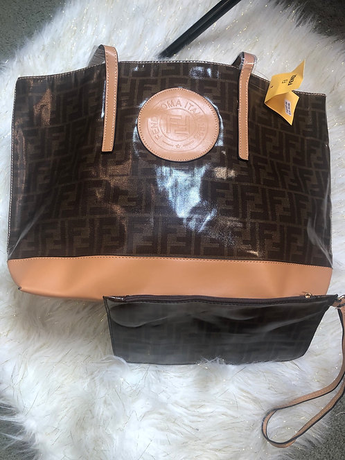 FF tote handbag w/wristlet dark trim only see picture
