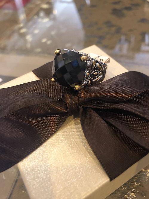 Large Yurman style black stone ring size 9