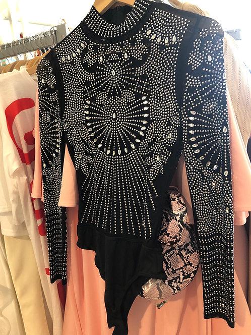 Mesh black & white body rhinestone suit 2117210