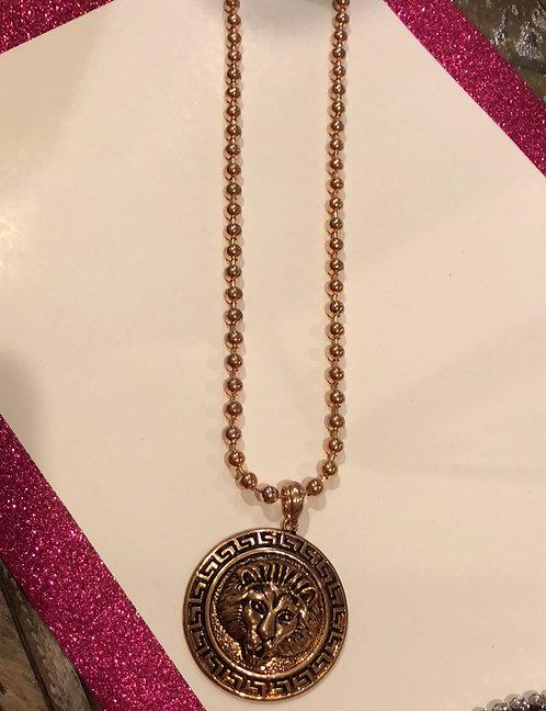 Lion head necklace rose gold