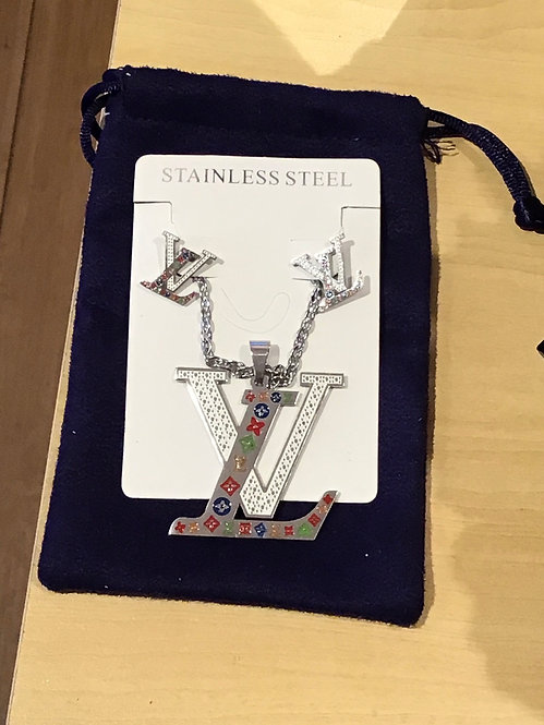 LV Inspired Stainless Steel necklace with matching earrings set