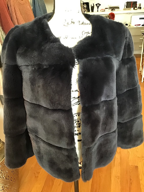Rex rabbit blue fur jacket