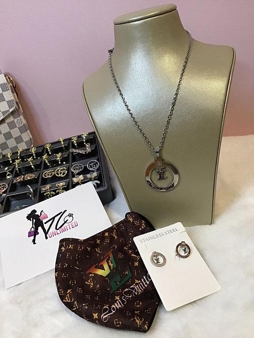 Inspired Lv necklace& earrings  set