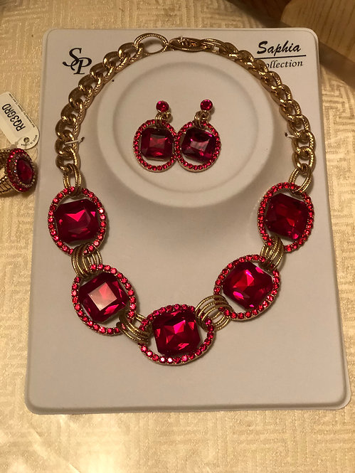 Red Rhinestone necklace set