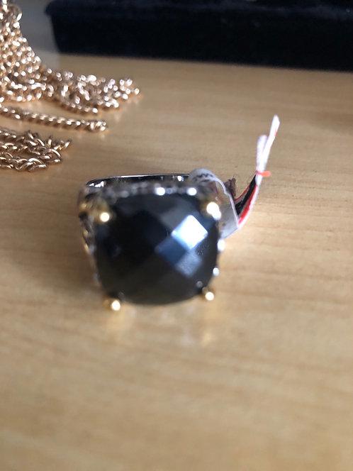 Vintage designer style ring  size 9 blaxk stone