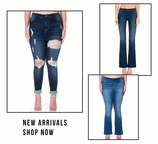 Plus size stretch denim pants