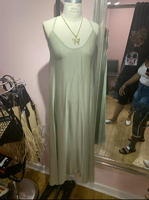 Tempo Long green silk dress
