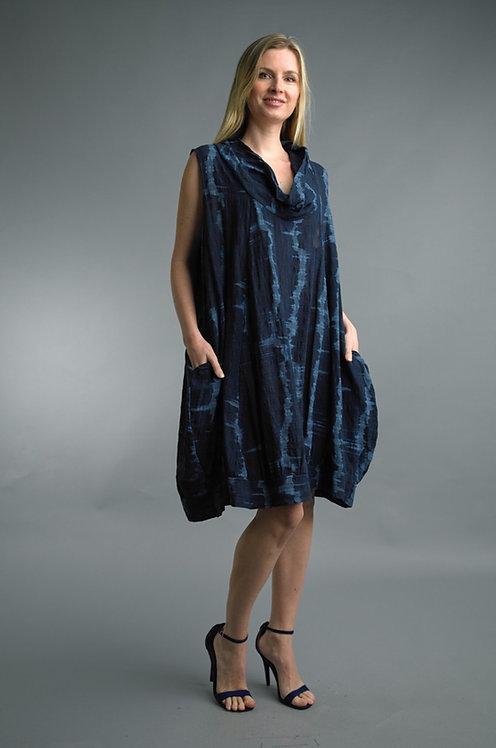 Tempo Black /grey cow Neck Linen Dress 4347A