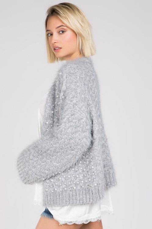 Pearl embroidered Alpaca front cardigan styke #TKTT12