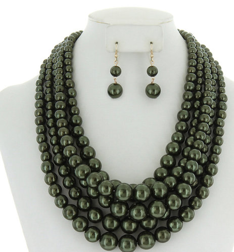 Layer Large Pearl Strands Extra Chunky Necklace And Earrings Set