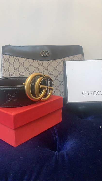GG belt Black Monogram Embedded