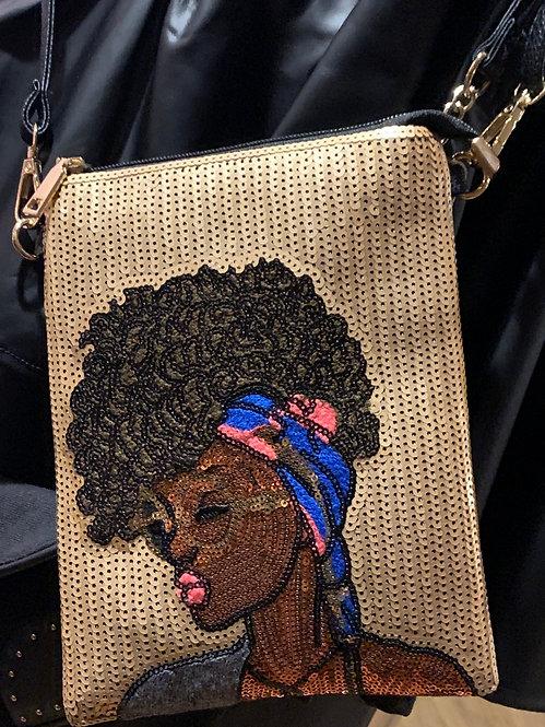 Nubian Queen sequin crossbody bag -Gold