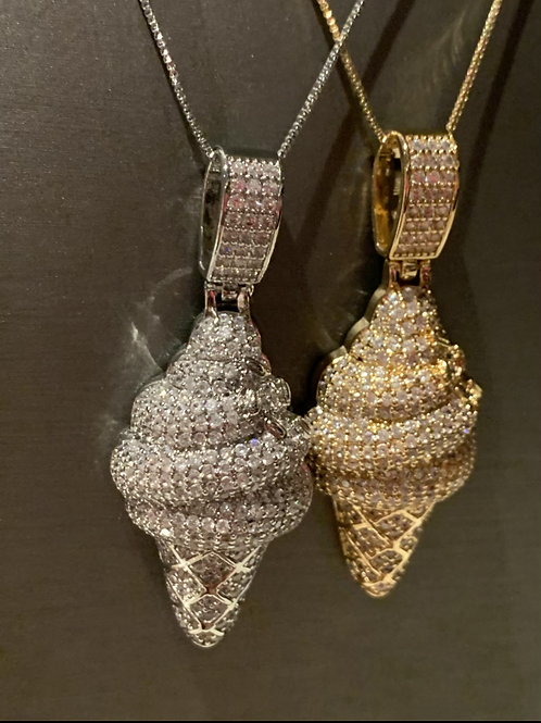 Hip hop Ice cream bling necklace