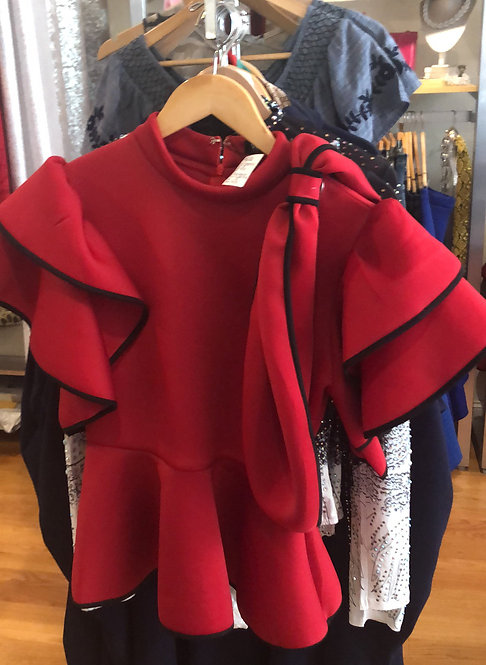 Why red peplum top T180914 small only