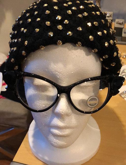 Black fashion rhinestone glasses