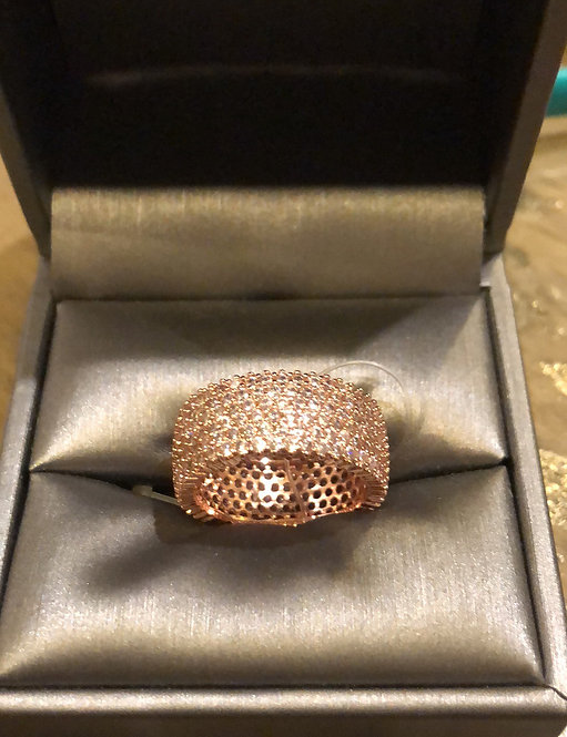 Rose gold bling ring 18K CZ