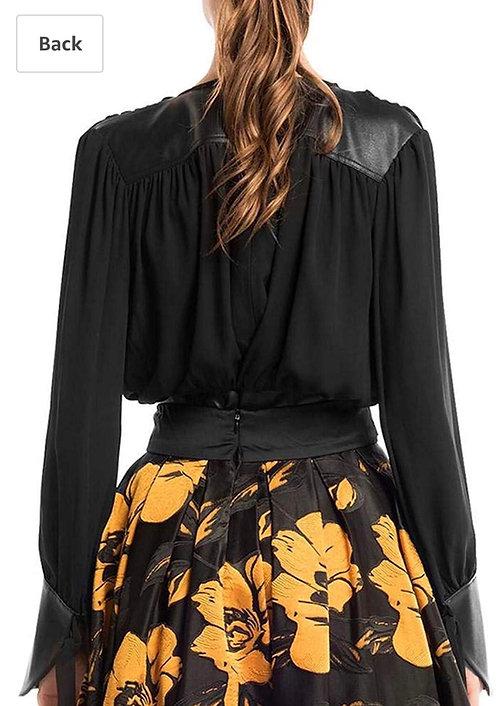 Gracia faux leather black cobtrast split peplum blouse  t23678