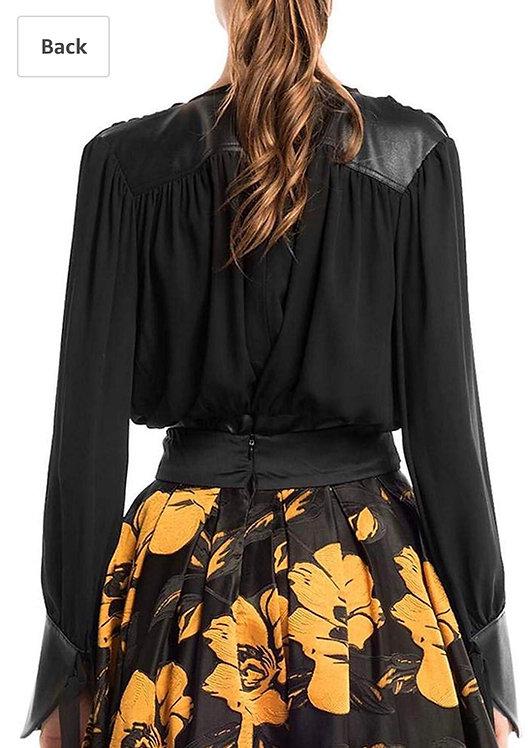 Gracia faux leather black contrast split peplum blouse  t23678