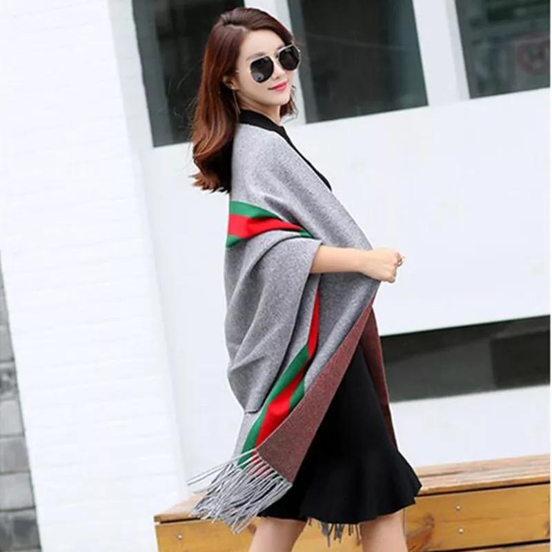 Thumbnail: Red/green stripe Versitile Fringe shawl/scarf