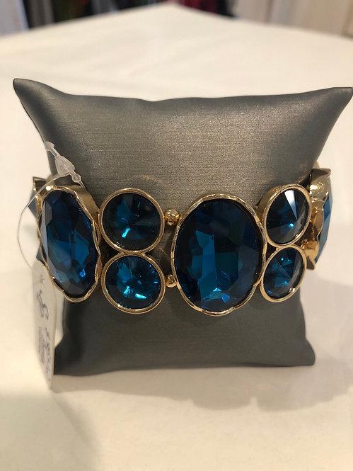 Large circle stretch bracelet  blue