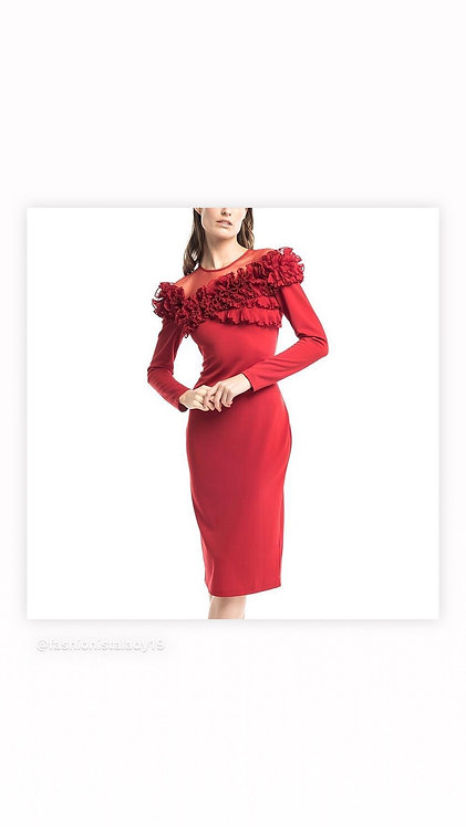 Gracia red mesh and ruffle fitted dress d23471