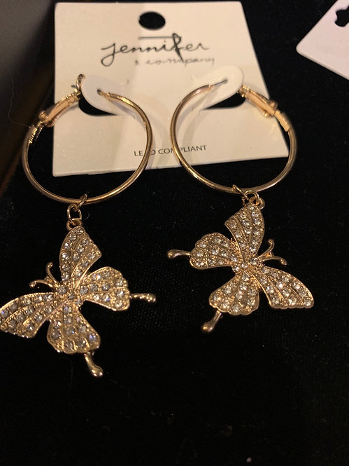 Butterfly  gold tone hoops