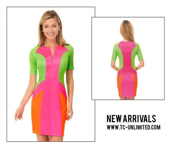 Jersey split neck dress