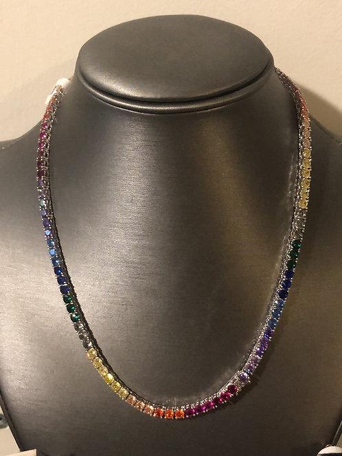 Sterling silver multicolor CZ necklace