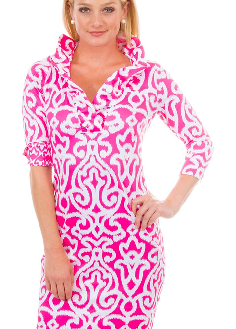 Gretchen Scott Pink ruffleneck Ababesque  dress