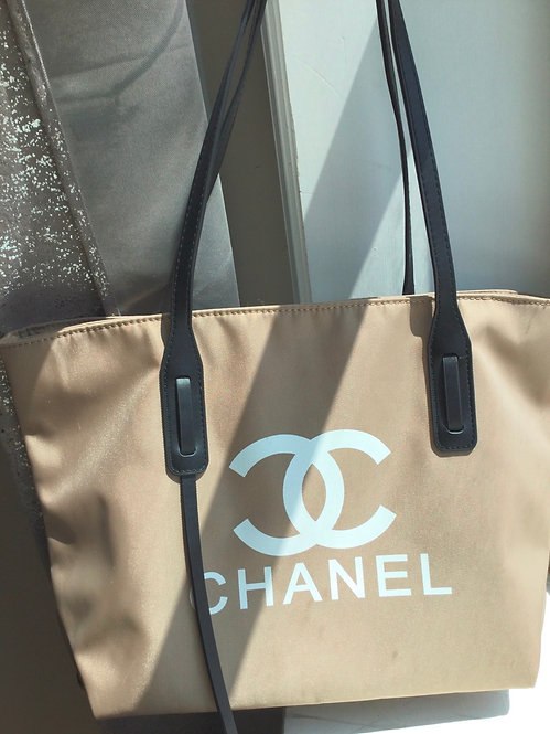 Chanel inspired tan tote