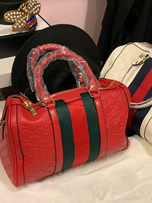Embossed red striped GG speedy handbag