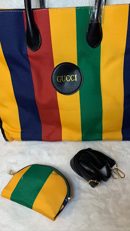 Stripe GG tite with cosmetic bag