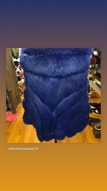 Blue faux vest coat