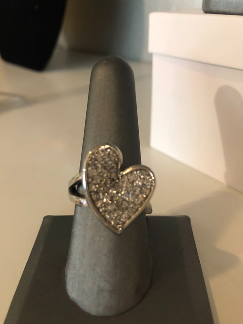 Stainless steel heart  ring  size 8