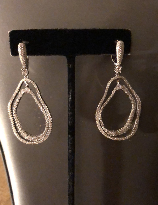 Rhodium Plated Sterling Silver, Double Irregular Open Ovals CZ Lever Back Earrin