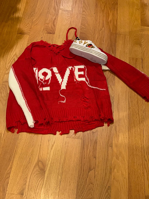 Red fringe Love sweater