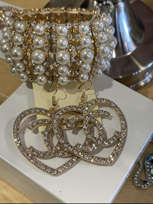 Cc heart earrings