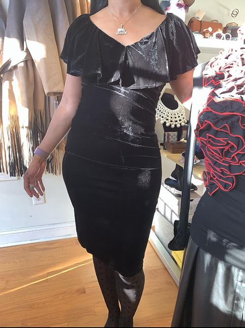 Unique vintage velvet dress  k699b black