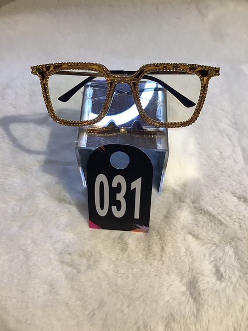Gold Tourtist Shell Bling Glasses 031
