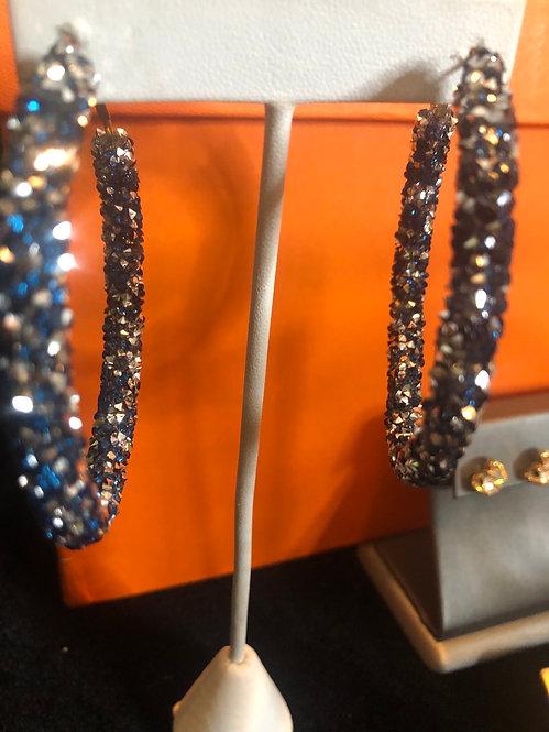 Bling hoop earrings bluebmulti