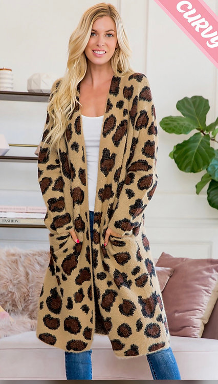 Sweet  lo lovely Mocha/black leopard print cardigan sweater