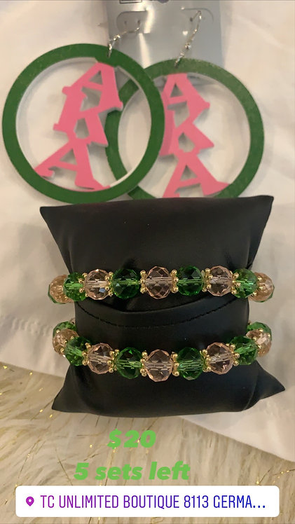 Pink and green sets