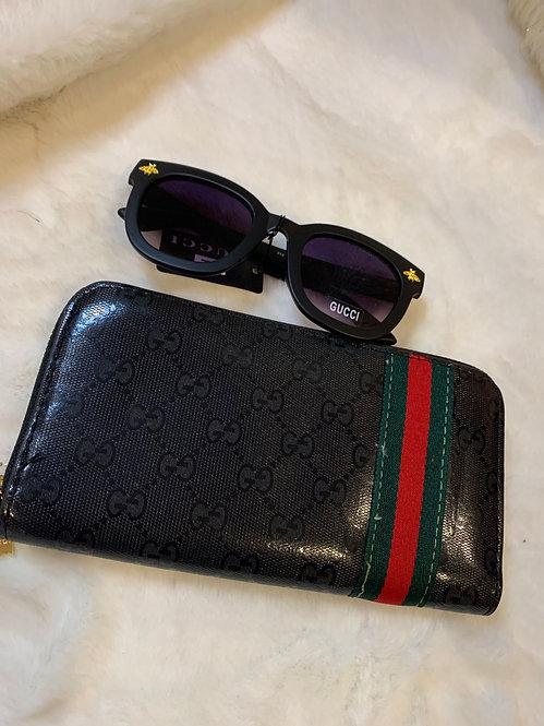 Black GG stripe wallet