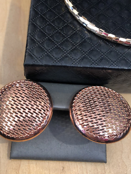 Large button rose gold earrings