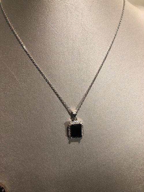 New black square Cz trimmed stone